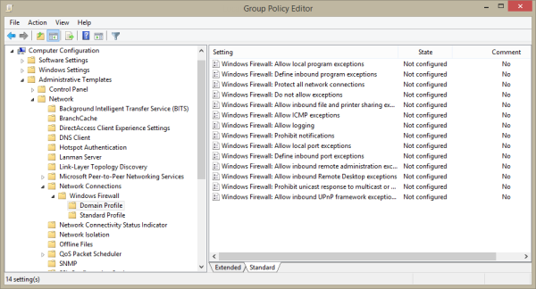Group policy changes to the Windows firewall