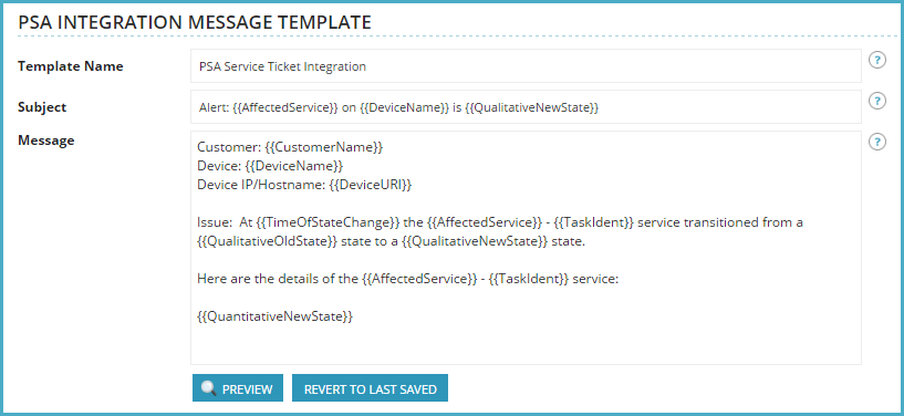 Configure the PSA Integration Message Template